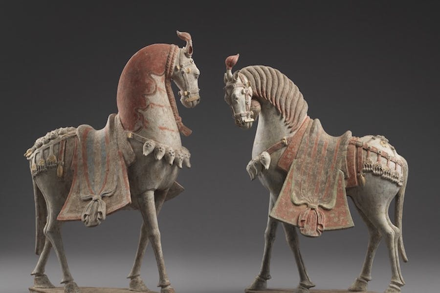 Pair of caparisoned horses, China, Northern Qi period (550–577 AD), ht. 63cm. Eskenazi (price on application)