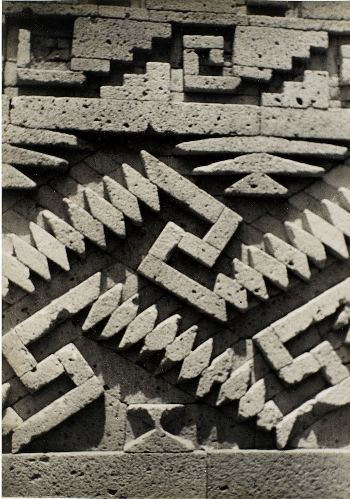 Photograph of the details in the stonework at Mitla, ca. 1937, Josef Albers. © 2017 The Josef and Anni Albers Foundation/Artists Rights Society (ARS), New York