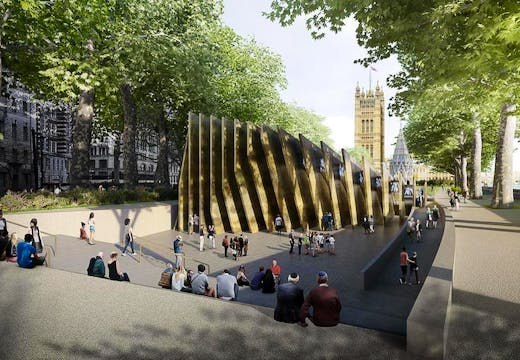 Sir David Adjaye's winning design for the National Holocaust Memorial, at Victoria Tower Gardens in London
