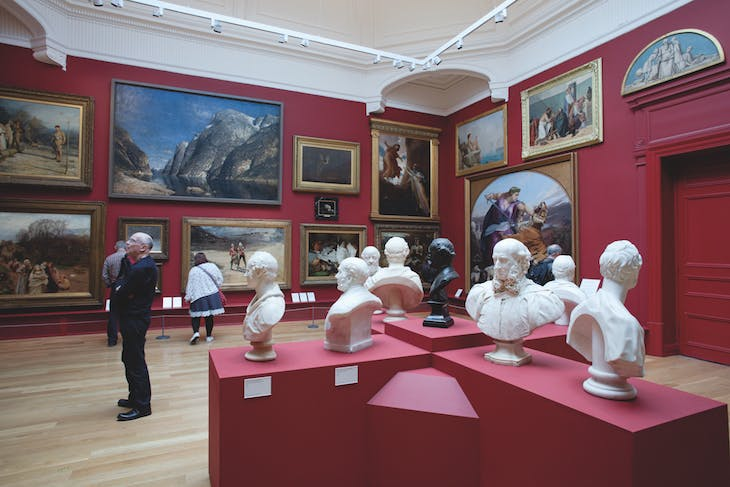 The Arnold and Marjorie Ziff Gallery at Leeds Art Gallery, which contains a circle of marble busts and a collection of Victorian paintings.