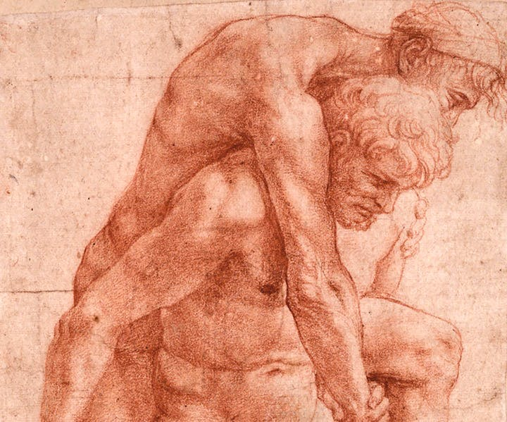 A man carrying an older man on his back (detail; c. 1513–14), Raphael. Albertina Museum, Vienna