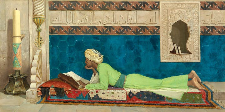 A Young Emir Studying (1878), Osman Hamdy Bey. © Louvre Abu Dhabi / Agence Photo F