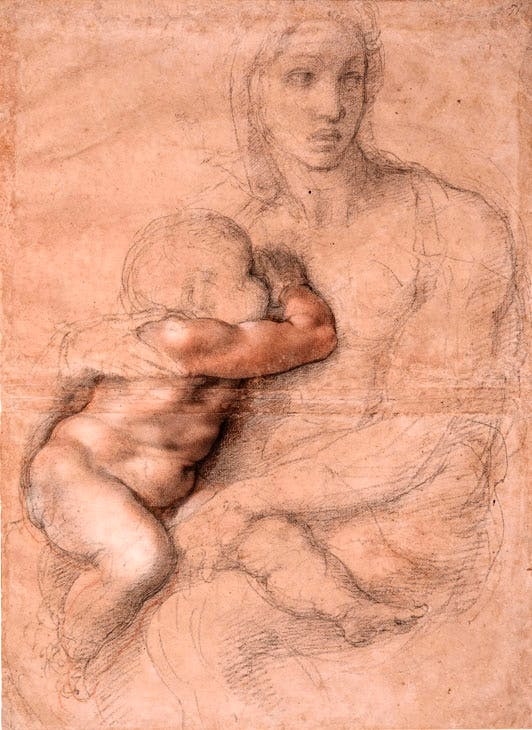 Unfinished cartoon for a Madonna and Child (1525–30), Michelangelo. Casa Buonarroti, Florence