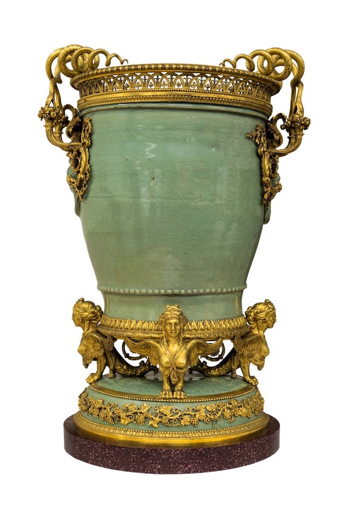 One of a pair of vases, 1782, gilt bronze by Pierre Gouthière, after a design by François-Joseph Bélanger. Musée du Louvre, Paris