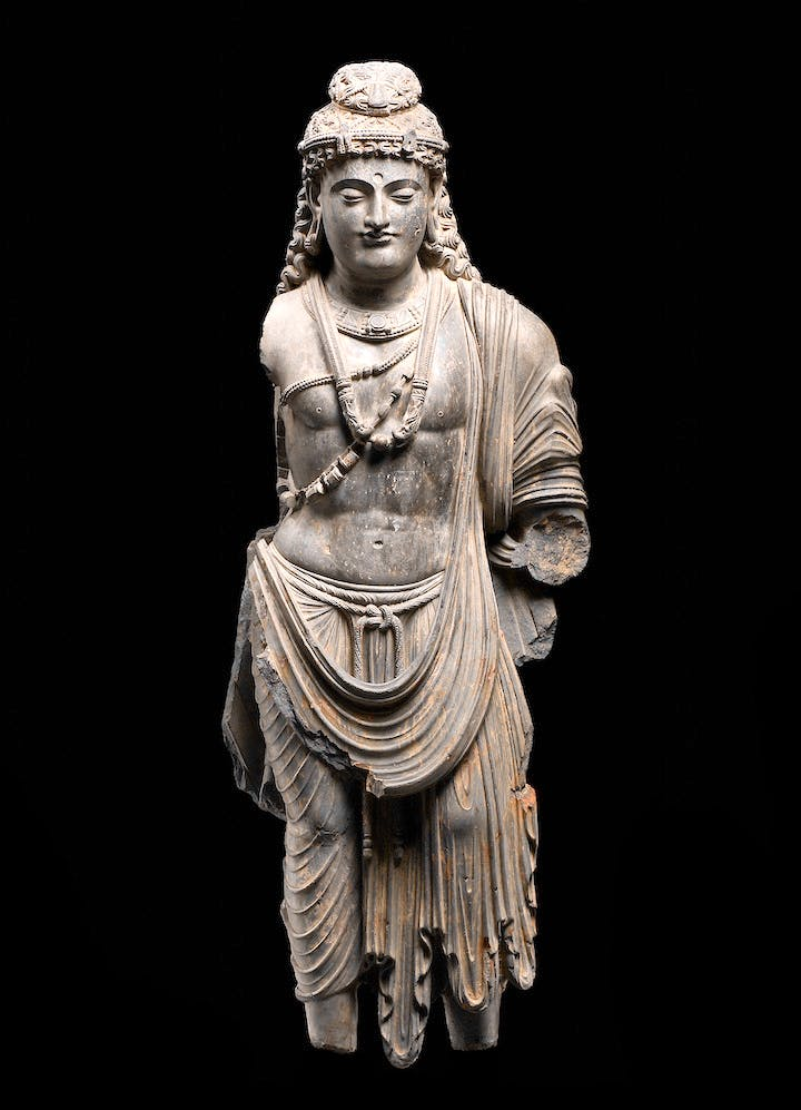 Standing Bodhisattva, Asia, 2nd–3rd century AD, Schist. © Louvre Abu Dhabi / Thierry Ollivier