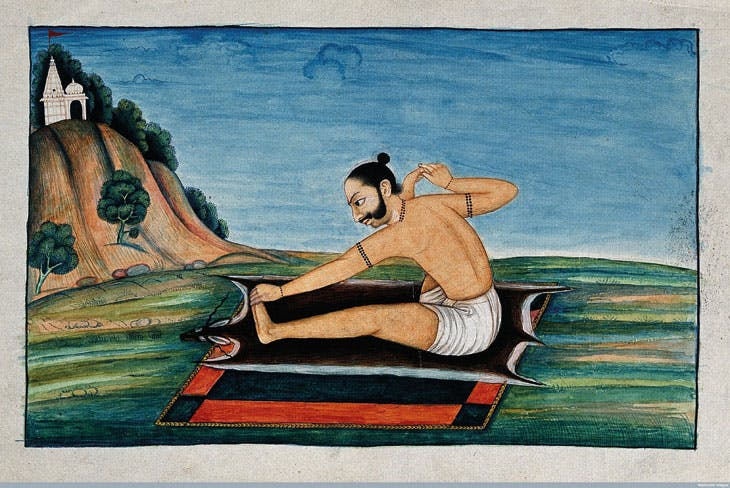 An Indian person in a yogic posture, gouache painting, 19th Century. Courtesy of Wellcome Library, London