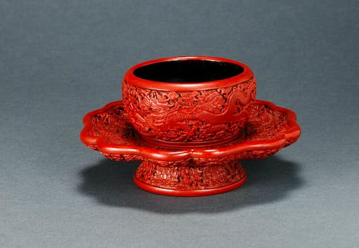 Imperial dragon and lotus decorated bowl stand, China, Yongle period (1403–24).