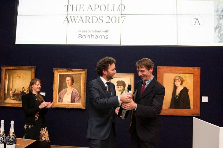 Apollo Awards 2017: Alexander Sturgis, director of the Ashmolean Museum, collects the awards for Exhibition of the Year. Photo © Anne Schwarz