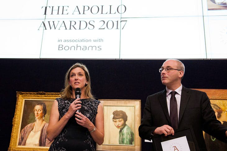 Apollo Awards 2017: Kelly Hays, director of gifts of art, and Ben Weiss, director of collections at the MFA Boston, collect the award for Acquisition of the Year. Photo © Anne Schwarz