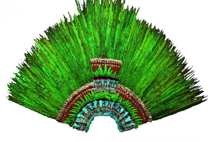 Feather headdress, early 16th century, Mexico, Aztec,