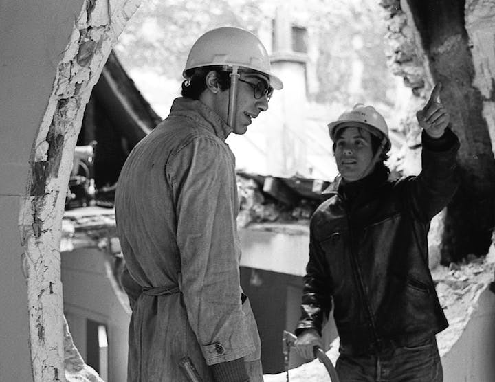 Gordon Matta-Clark and Gerry Hovagimyan working on Conical Intersect, 1975. Photo: Harry Gruyaert © 2017 Estate of Gordon Matta-Clark / Artists Rights Society (ARS), New York and David Zwirner, New York