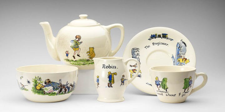 Christopher Robin ceramic tea-set presented to Princess Elizabeth, hand-painted, Ashtead Pottery, 1928. Photograph: Royal Collection Trust/© Her Majesty Queen Elizabeth II 2017