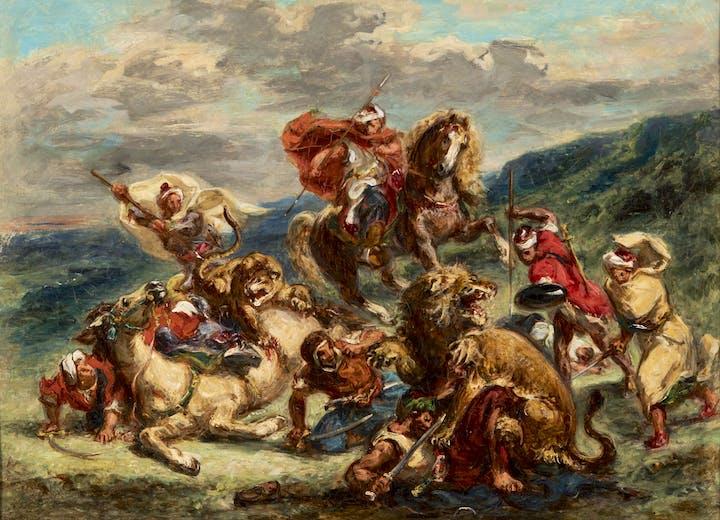Chasse aux lions (c. 1861), Eugène Delacroix. Kunstmuseum St. Gallen