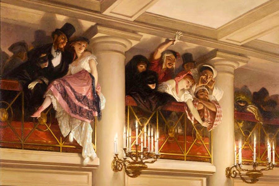 Le Bal de l'Opéra (detail; 1866), Eugène Giraud. Musée Carnavalet