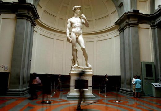 Michelangelo's marble statue of 'David', pictured at the Galleria dell'Accademia in Florence on 24 May 2004.