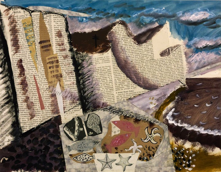 Beach with Starfish (c. 1933–34), John Piper. © The Piper Estate