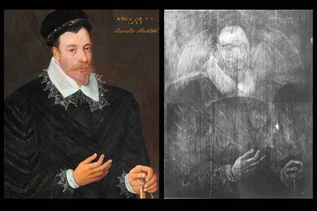 Left: Adrian Vanson's portrait of Sir John Maitland, 1st Lord Maitland of Thirlestane (1589); right: X-ray view of the same painting, showing the portrait of a woman believed to be Mary, Queen of Scots
