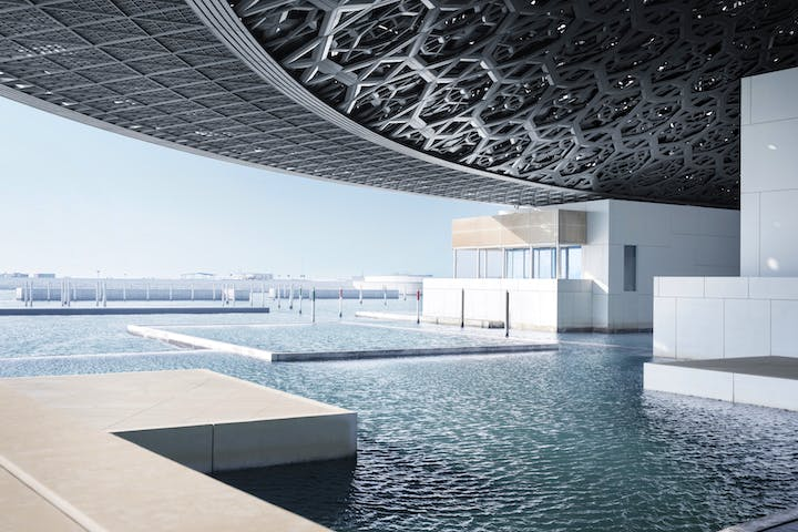 View overlooking the sea at Louvre Abu Dhabi. © Louvre Abu Dhabi, Photography: Mohamed Somji