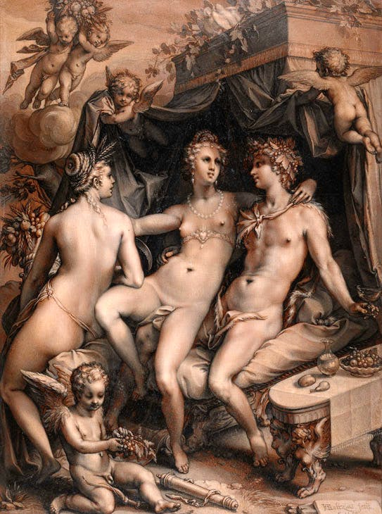 Without Ceres and Bacchus, Venus Would Freeze (1599), Hendrik Goltzius. © The Trustees of The British Museum