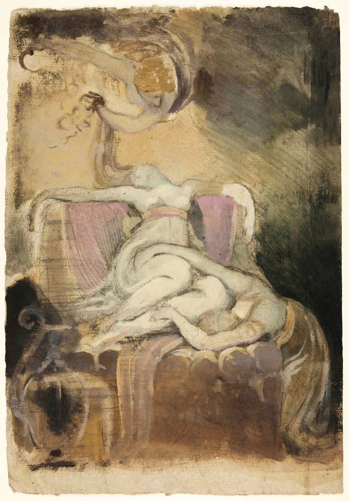 Sketch for 'Dido on the Funeral Pyre' (recto); Erotic Sketch of Man and Woman (verso), c. 1781, Henry Fuseli. Courtesy of The Art Institute of Chicago