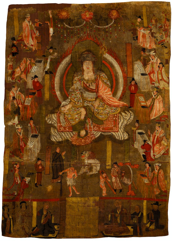 Painting showing Ksitigarbha and the Ten Kings of Hell (10th century), China, Gansu province, Qianfodong, Dunhuang.