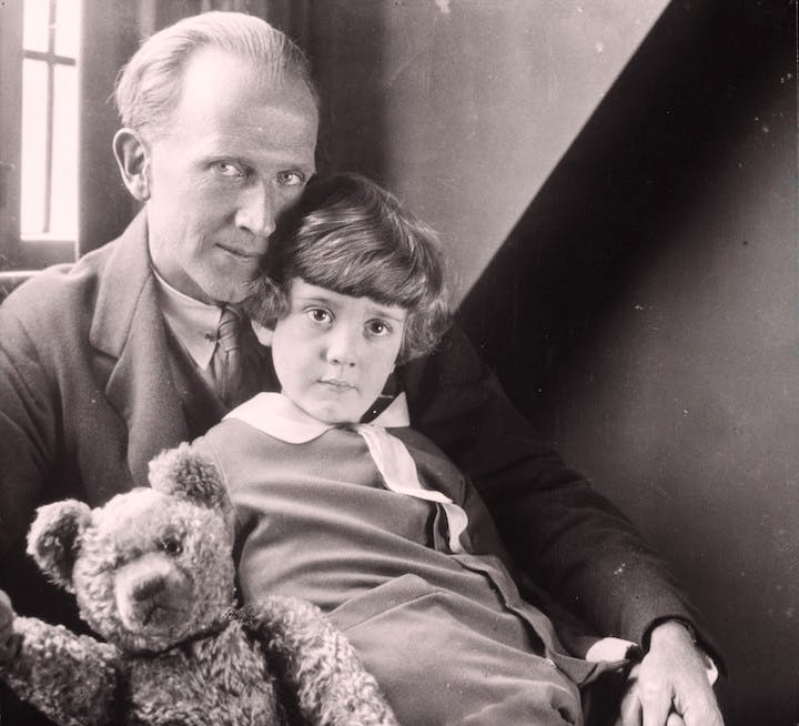 A.A. Milne, Christopher Robin Milne and Pooh Bear, 1926, photograph by Howard Coster. © National Portrait Gallery