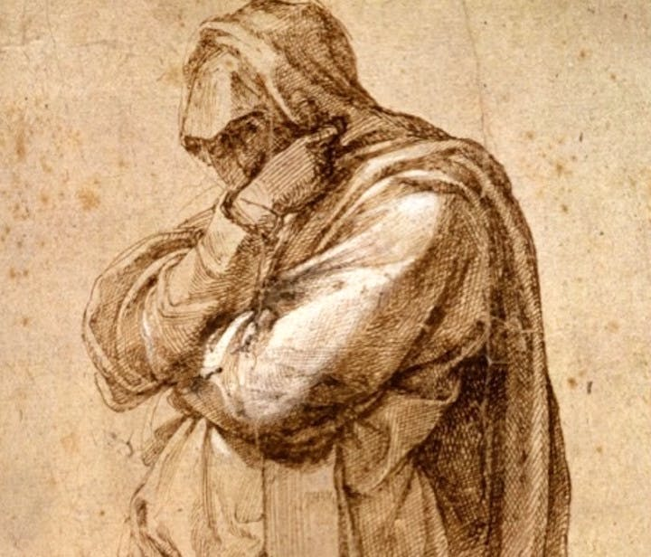 Study of a Mourning Woman (detail; c. 1500–1505), Michelangelo Buonarotti. Courtesy of J. Paul Getty Museum