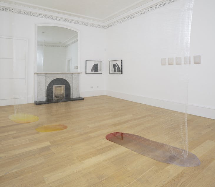 Installation view of 'Slow Objects' at the Common Guild, Glasgow, showing Erin Shirreff's Signatures (1) (2011), Edith Dekyndt's Slow Object 02 (1997/2016), and Vanessa Billy's Les fons qui plerent (2017).
