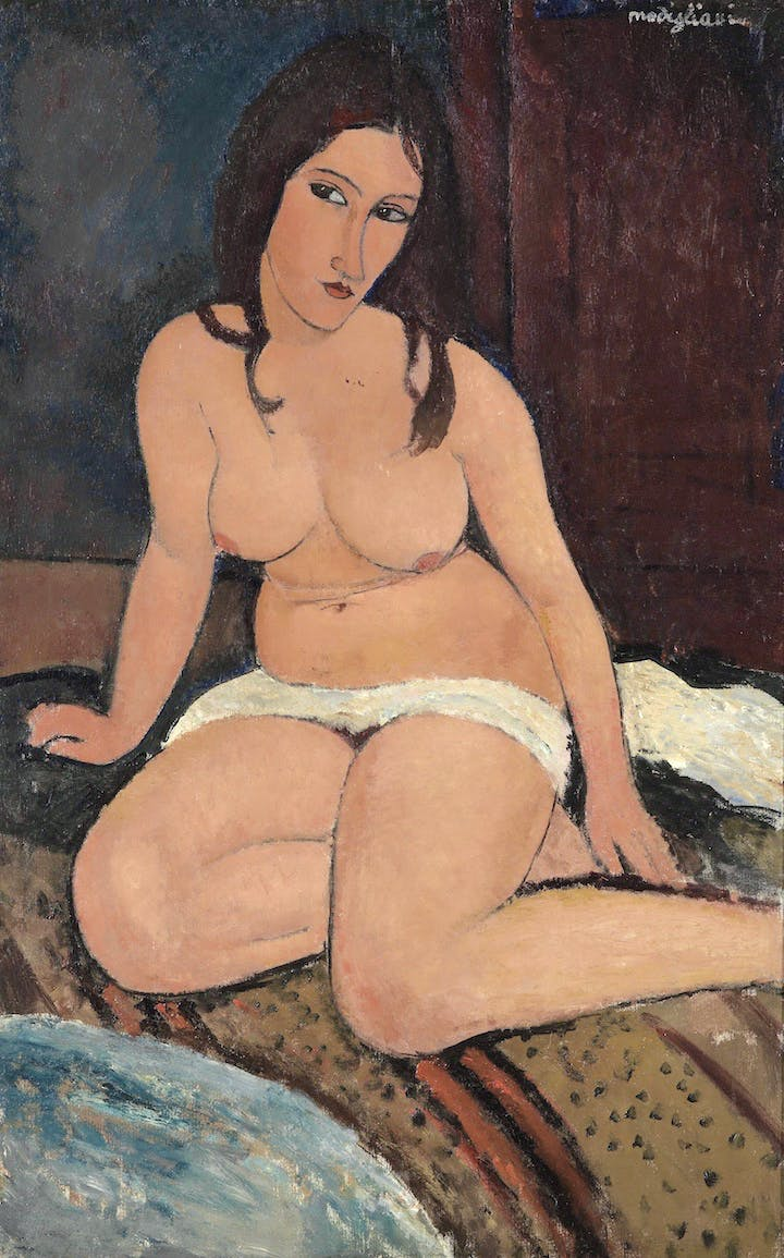 Seated Nude (1917), Modigliani. Royal Museum of Fine Arts Antwerp, Lukasart in Flanders Photo credit: Hugo Maertens