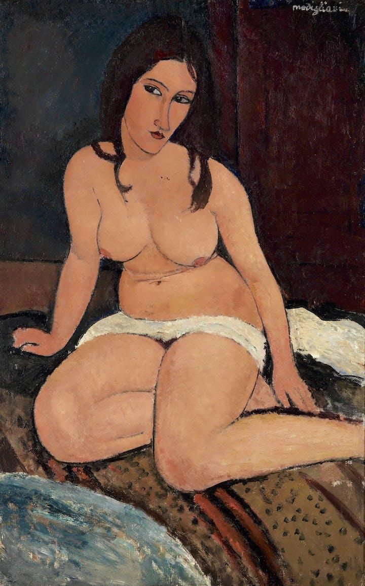 Seated Nude (1917), Modigliani. Royal Museum of Fine Arts Antwerp, Lukasart in Flanders Photo credit: Hugo Maertens