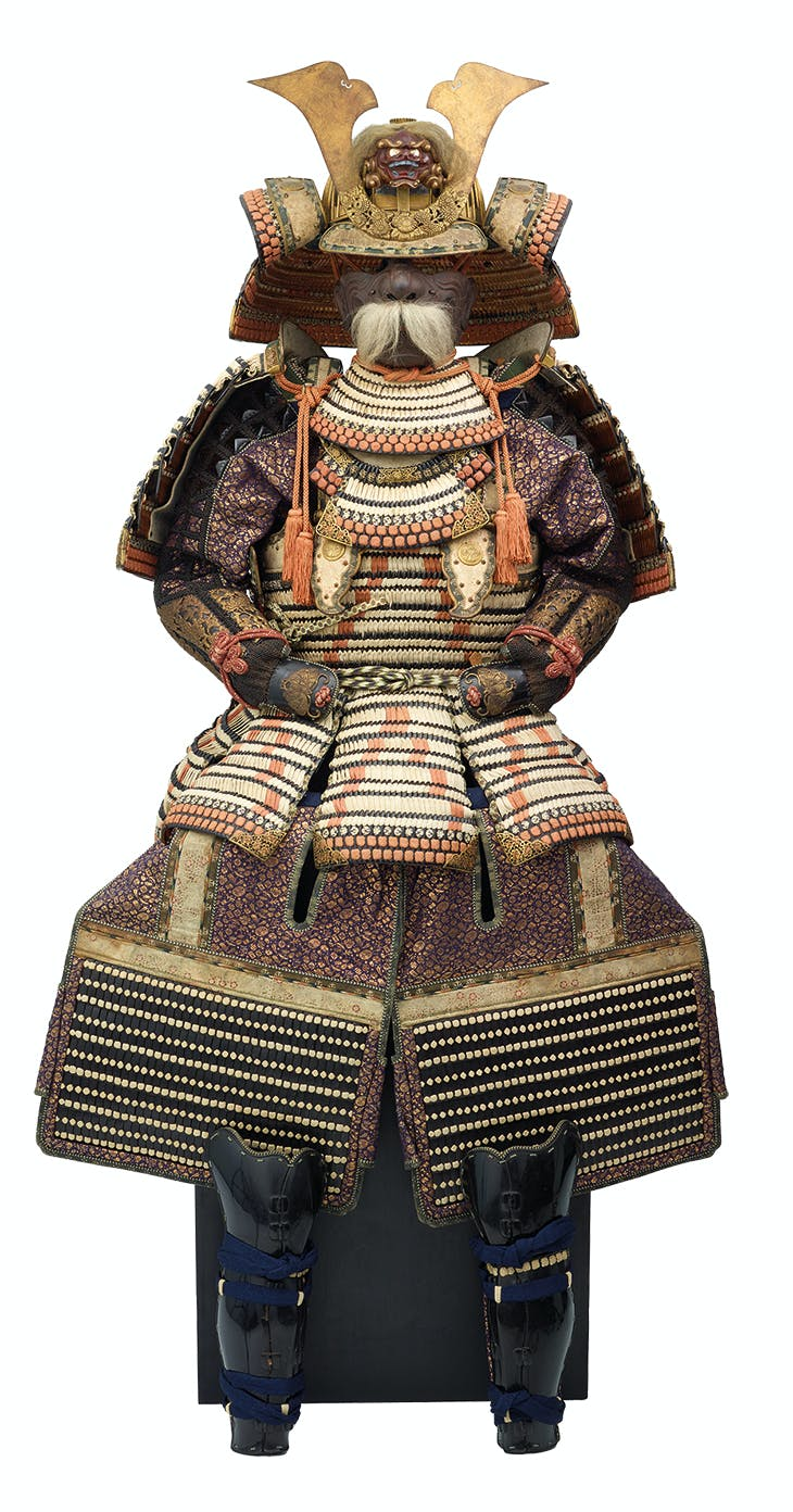Domaru tosei gusoku armour (detail), Japan, Momoyama period (1573–1615), with 19th-century lacing and brocade and menpo mask (c. 1700), signed by Munemassa.