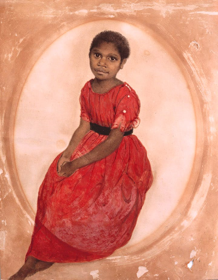 Mithina Mathinna (1842), Thomas Bock. Courtesy Tasmanian Museum and Art Gallery