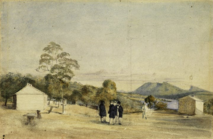 Observatory, Domain, Sir John Franklin, Captain Crozier and Captain James Ross (1842), Thomas Bock. Courtesy Tasmanian Museum and Art Gallery