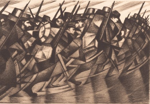 Returning to the Trenches (1916), C.R.W. Nevinson.