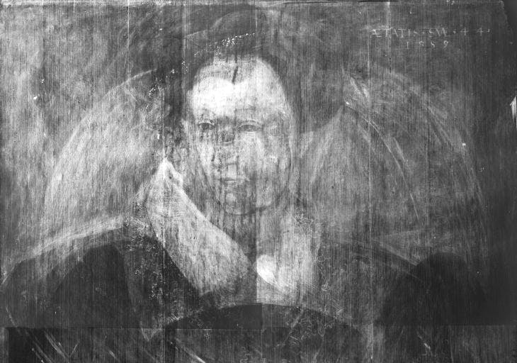 Detail of an X-ray showing the portrait of a woman believed to be Mary, Queen of Scots, underneath Adrian Vanson's portrait of Sir John Maitland.