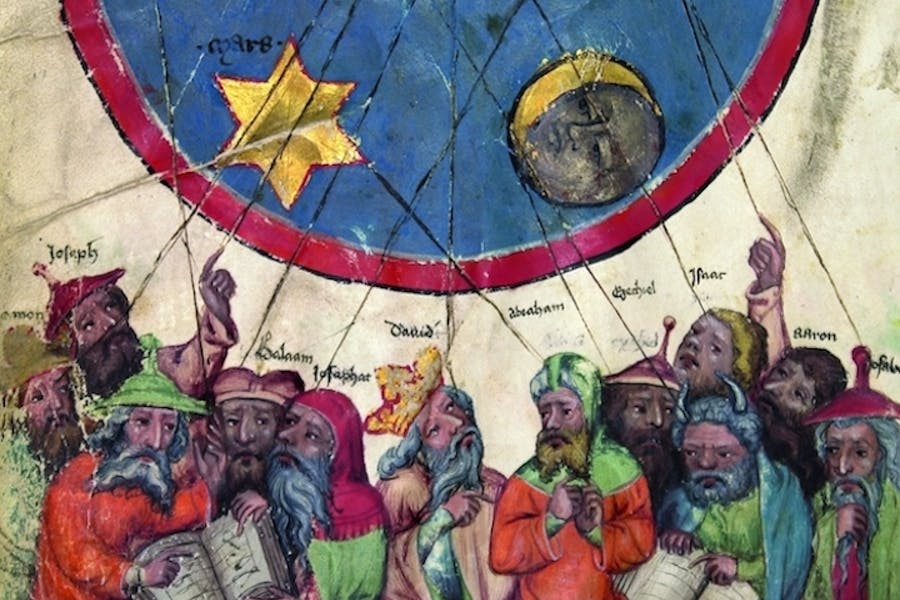 "Detail of twelve ""masters"" under the planetary sky, from the Oracle book, c. 1370, Middle Rhine. Courtesy Martin-Gropius-Bau"