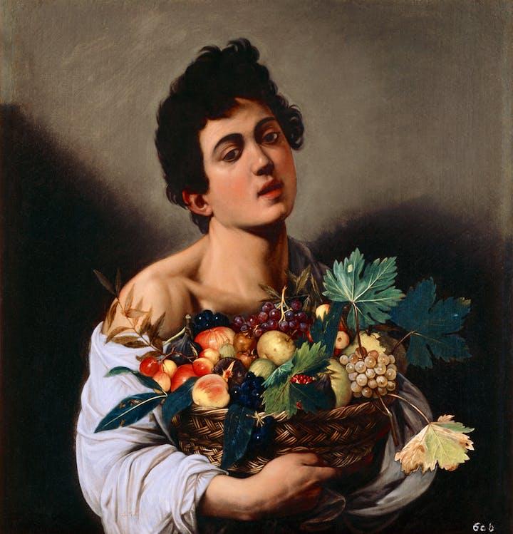 Boy With a Basket of Fruit (c. 1593–94), Caravaggio. Ministero de Beni e delle Attività Culturali e del Turismo–Galleria Borghese