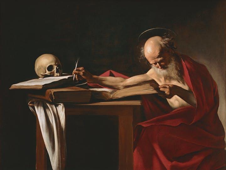 Saint Jerome (c. 1605–06), Caravaggio. Ministero dei Beni e delle Attività Culturali e del Turismo–Galleria Borghese