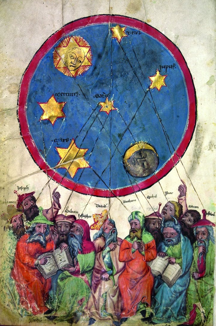 "Twelve ""masters"" under the planetary sky, from the Oracle book, c. 1370, Middle Rhine. Courtesy Martin-Gropius-Bau"