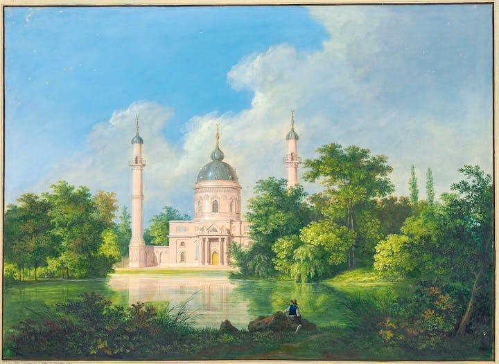 The red mosque in the park in Schwetzingen (1793), Karl Kuntz. Albertina, Wien