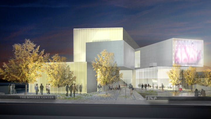 Rendering of the Pine Street entrance of VCU's Institute for Contemporary Art at the Markel Center. © Steven Holl Architects and the Institute for Contemporary Art, VCU