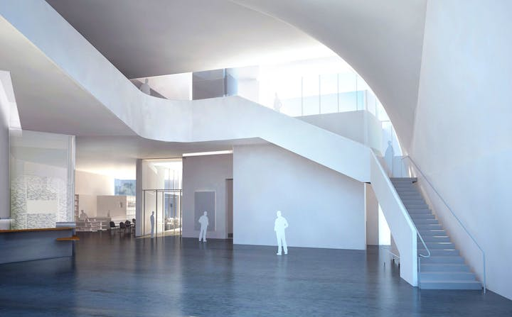 Rendering of the entry forum, Institute for Contemporary Art at VCU. © Steven Holl Architects and the Institute for Contemporary Art, VCU