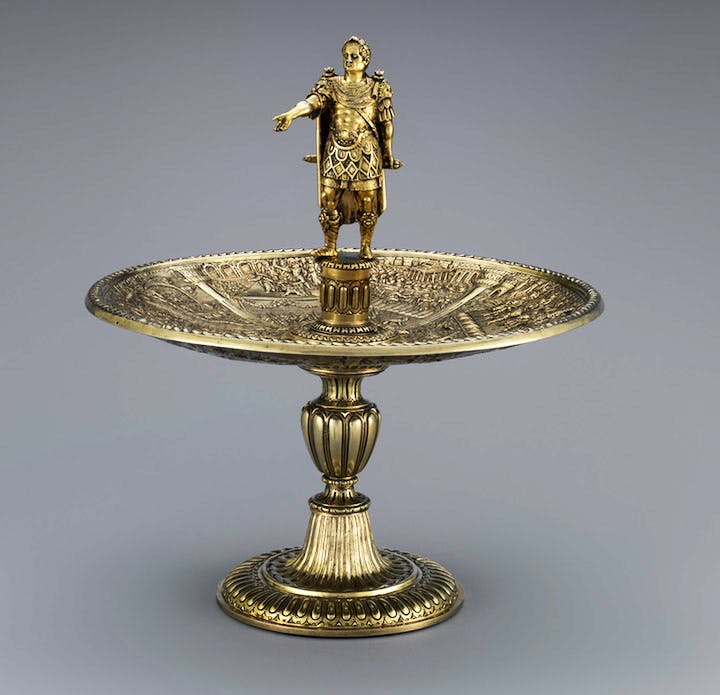 Galba figure and Caligula dish from the Aldobrandini Tazze, ca. 1587–99, Netherlandish? Casa-Museu Medeiros e Almeida, Lisbon