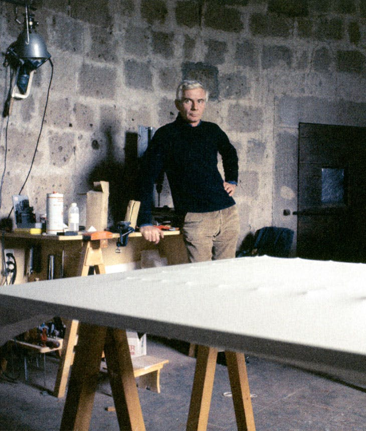 Enrico Castellani in his studio, Celleno, c. 1977-78. Photography by Franco Pasti