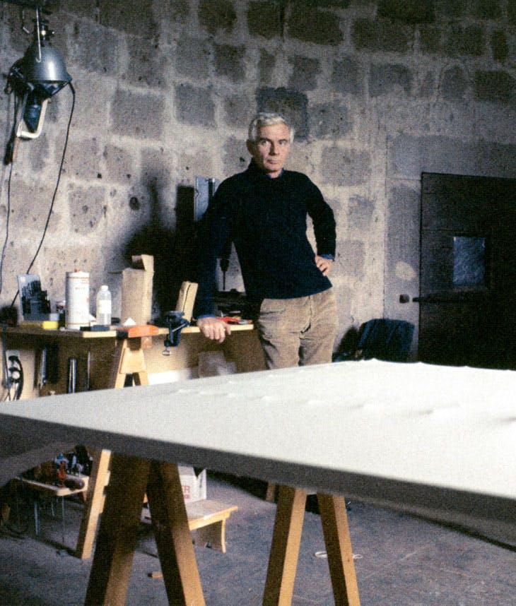 Enrico Castellani in his studio, Celleno, c. 1977-78. Photography by Franco Pasti
