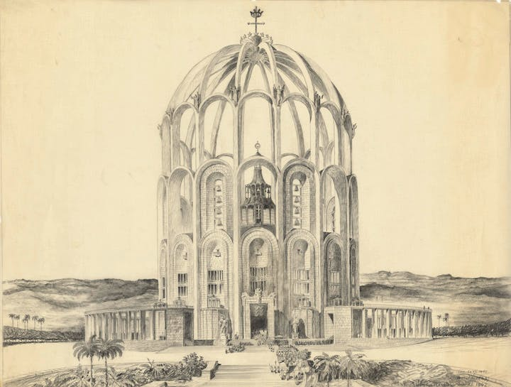Belo Horizonte, Cathedral study (1942–50), Clemens Holzmeister. Albertina, Wien