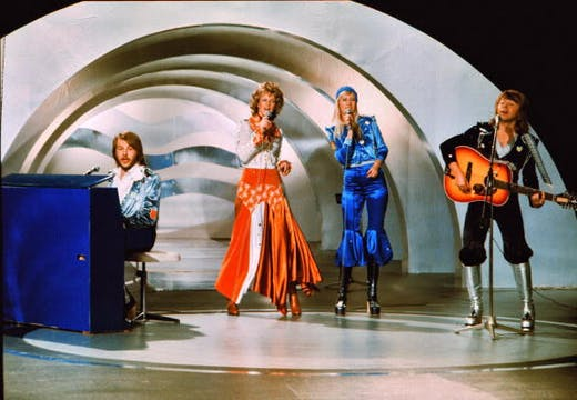 Abba performing 'Waterloo' at the Eurovision Song Contest in Brighton, 1974.