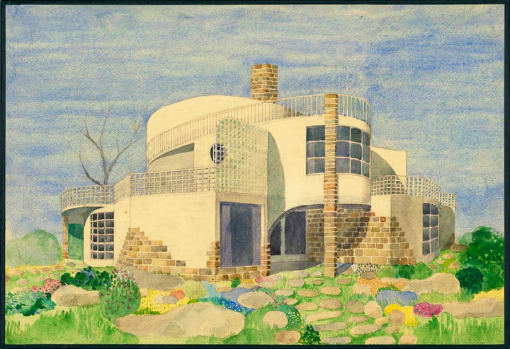 13 houses for Dagmar Grill, Design no. 9 (1947), Josef Frank. Albertina, Wien