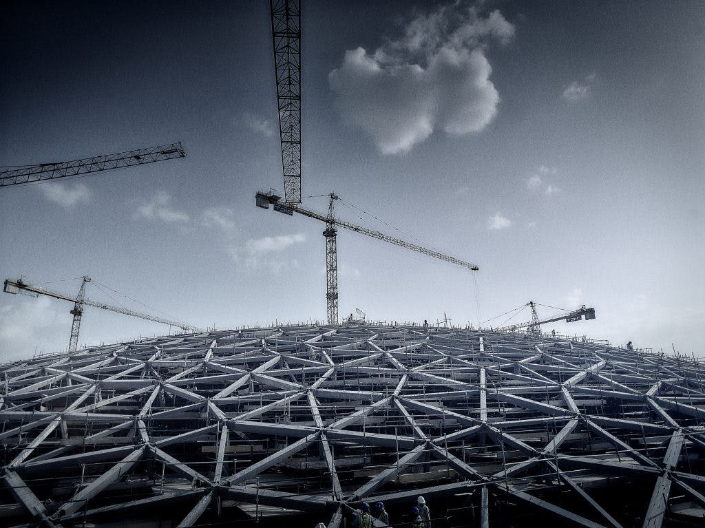 The dome of the Louvre Abu Dhabi under construction, Photo: Phillip Handforth; © BuroHappold Engineering