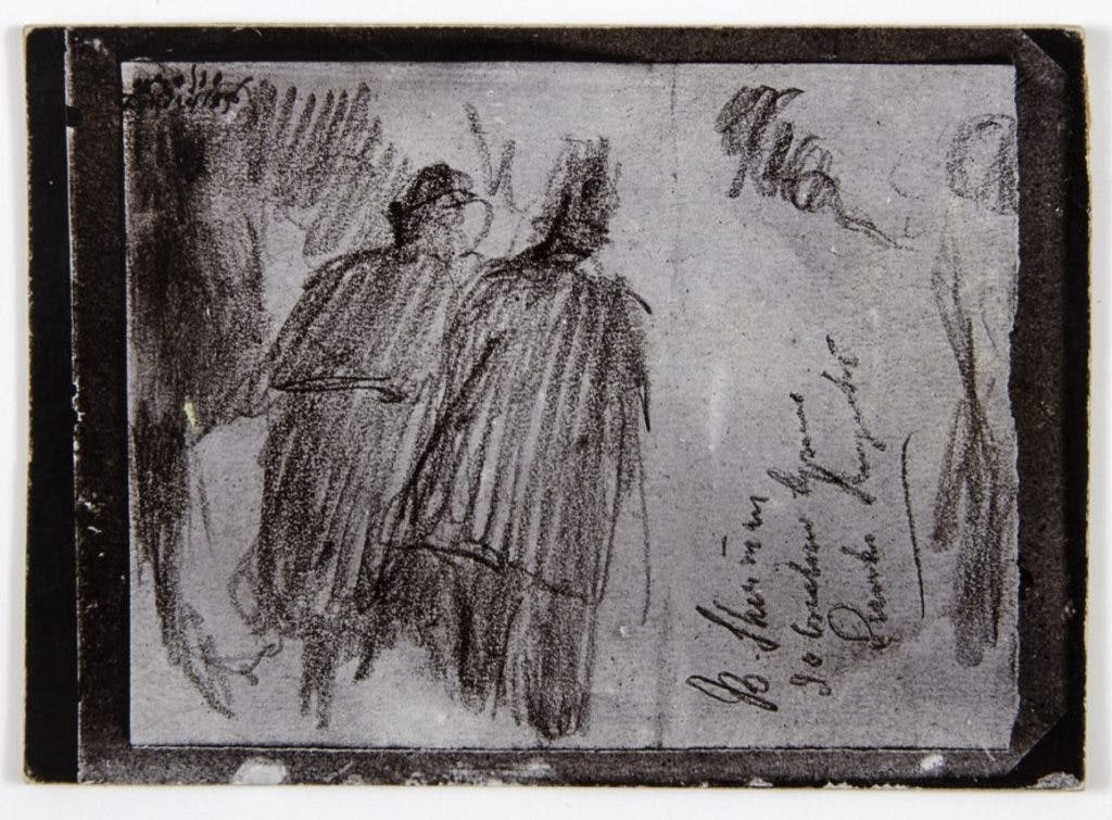 Photograph of drawing 'Detectives in London', Medardo Rosso